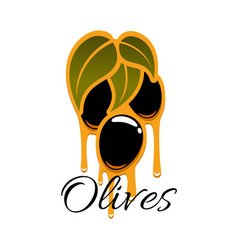 Black olives branch and olive oil icon vector