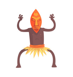 Black skinned man aborigine in tribal mask stands vector