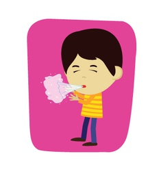 Boy sneezing or coughing vector