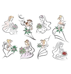 Brides and bridesmaids in wedding dresses vector