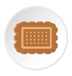 Brown cookie icon circle vector