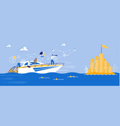 Business team company sailing to profit ship vector