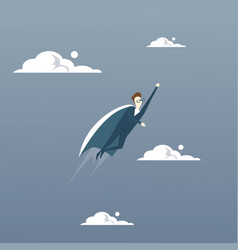 Businessman fly wear hero cape success concept vector