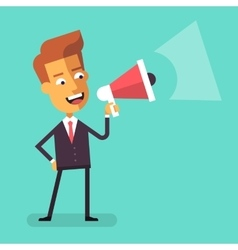 Businessman shouting into megaphone Flat design vector