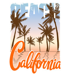 california beach t-shirt print vector image