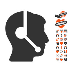 call center operator icon with love bonus vector image