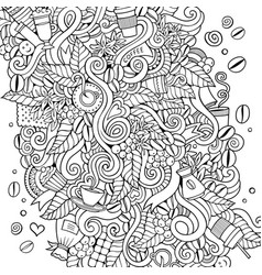 cartoon hand-drawn doodles coffee time vector image
