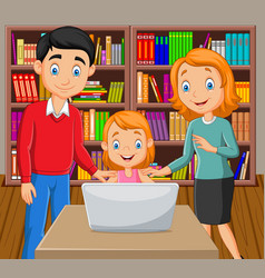 cartoon happy family watching a laptop vector image
