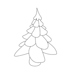 Christmas fir tree icon outline style vector image