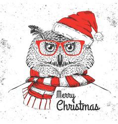 christmas hipster fashion bird owl vector image