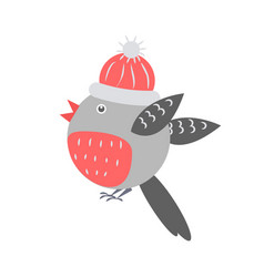 Closeup of bullfinch with hat vector