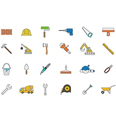 Construction colorful icons set vector image