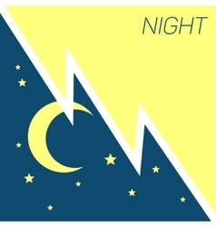Crescent moon and stars night concept vector