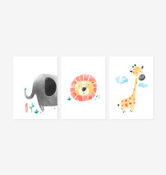 cute posters with lion giraffe and elephant vector image