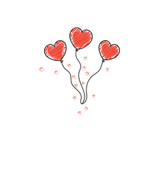 doodle heart shaped balloons for valentines day vector image