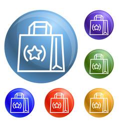 eco hand bag icons set vector image