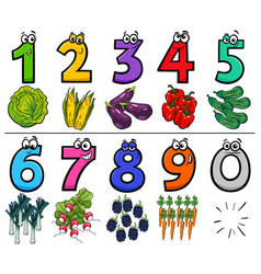 Educational cartoon numbers set with food objects vector