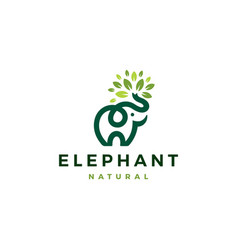 elephant leaf leaves tree logo icon vector image