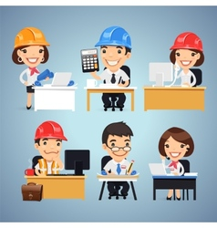 Engineers Cartoon Characters at the Table Set vector image