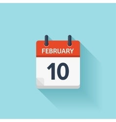 february 10 flat daily calendar icon date vector image