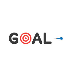 flat design style concept of goal text with vector image