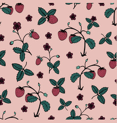 flower seamless pattern with wild strawberry vector image