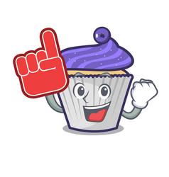 foam finger blueberry cupcake mascot cartoon vector image