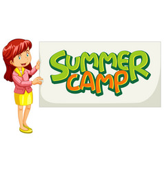 Font design for word summer camp with female vector