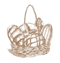 Fresh Bread Basket Hand Draw Sketch vector image