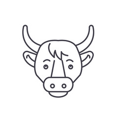 funny cow line icon concept funny cow vector image