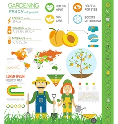 Gardening work farming infographic Peach Graphic vector