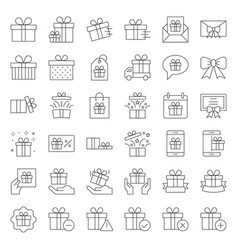 gift box or present box icon thin line vector image