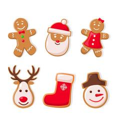 Gingerbread man and santa claus ginger cookies vector