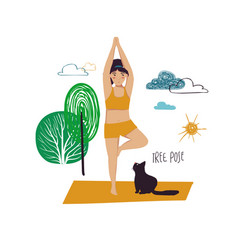 Girl doing tree yoga pose with cat vector