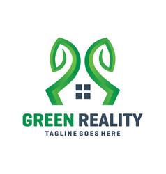 green garden home logo vector image