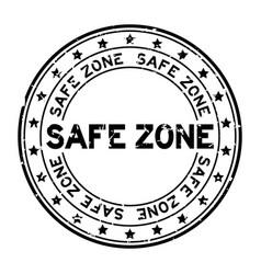 Grunge black safe zone word round rubber seal vector