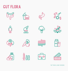 Gut flora thin line icons set vector