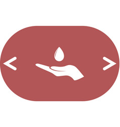Hand and water drop icon vector