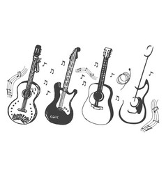 hand drawn sketch of guitar on vector image