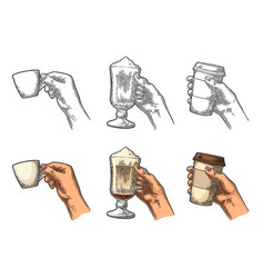 hands holding a cup of coffee holder and glass of vector image