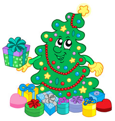 Happy christmas tree with gifts vector