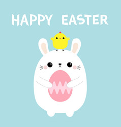 Happy easter rabbit holding painting egg chicken vector
