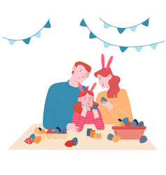 Happy family prepare for easter spring holiday vector