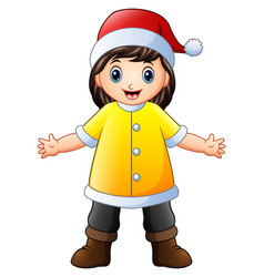 happy girl in yellow santa claus costume vector image
