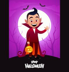 Happy halloween cartoon character dracula kid vector