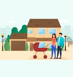 happy parents walking vector image