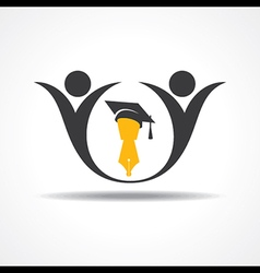 happy students with graduation cap and pen icon vector image