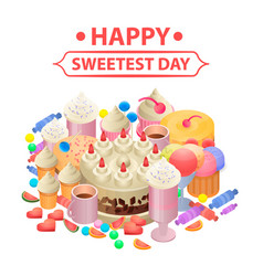 happy sweetest day concept background isometric vector image