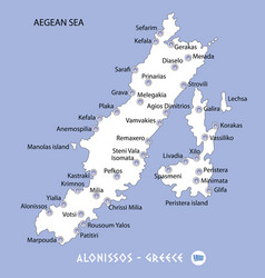 Island of alonissos in greece white map and blue vector