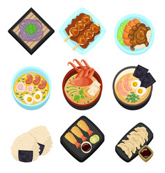 Japan food tasty cartoon icon asian set menu vector